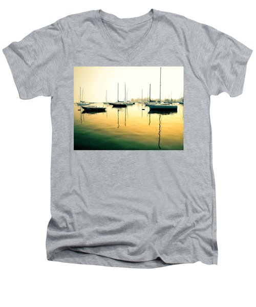 Early Mornings At The Harbour Men's V-Neck T-Shirt