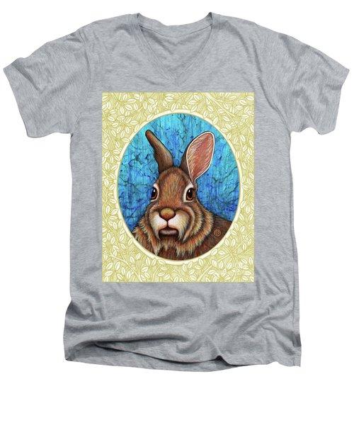Eastern Cottontail Portrait - Cream Border Men's V-Neck T-Shirt
