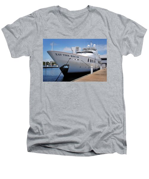 Eat The Rich Yacht Men's V-Neck T-Shirt
