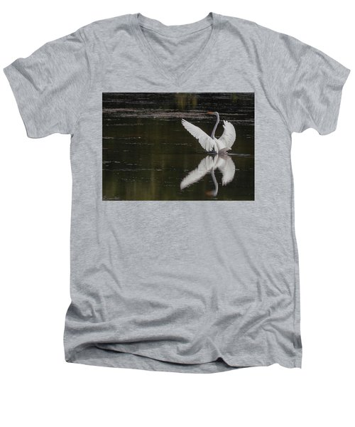 Egret Reflections Men's V-Neck T-Shirt
