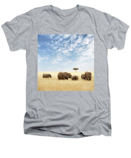 Elephant Group In The Grassland Of The Masai Mara Men's V-Neck T-Shirt