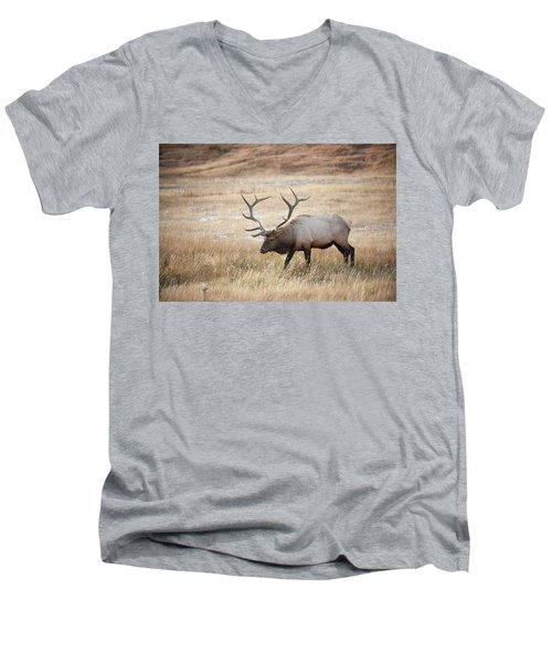 Elk In Yellowstone National Park Men's V-Neck T-Shirt