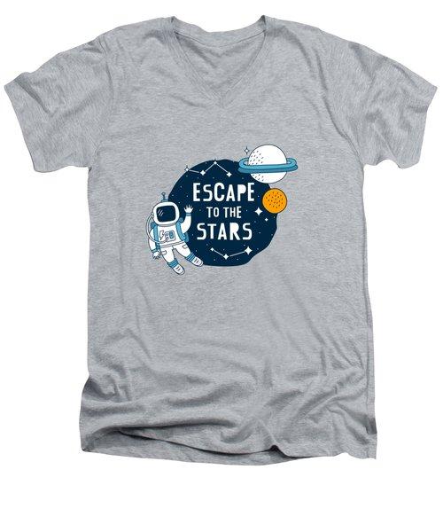 Escape To The Stars - Baby Room Nursery Art Poster Print Men's V-Neck T-Shirt