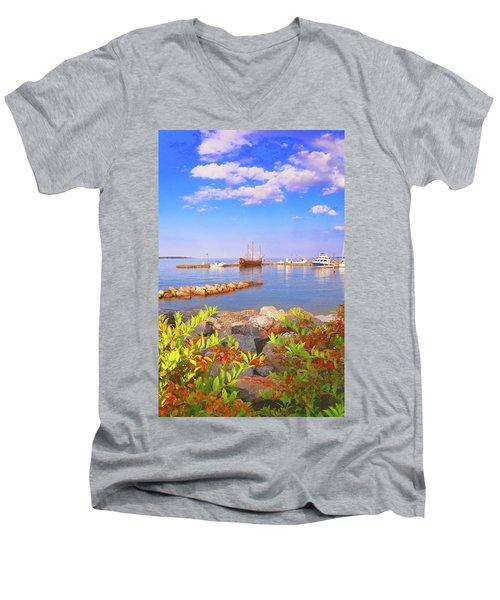 Evening At The York River In Yorktown Virginia Men's V-Neck T-Shirt