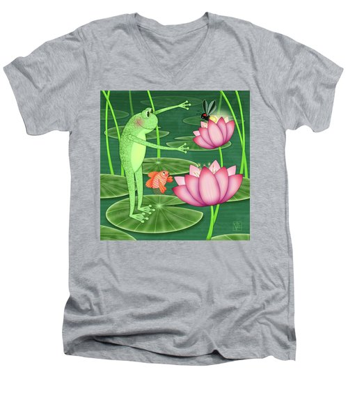 F Is For Frog Men's V-Neck T-Shirt