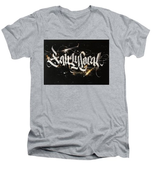 Fairly Local. Calligraphic Abstract Men's V-Neck T-Shirt