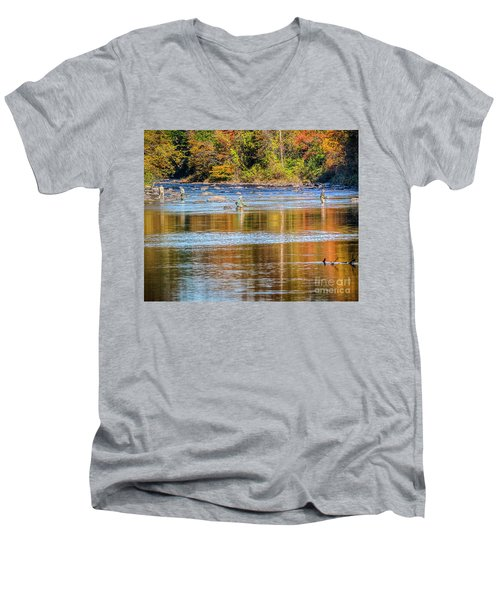Fall Fishing Reflections Men's V-Neck T-Shirt