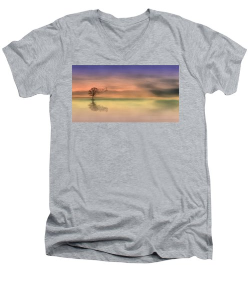 Men's V-Neck T-Shirt featuring the painting Fall Reflections by Harry Warrick
