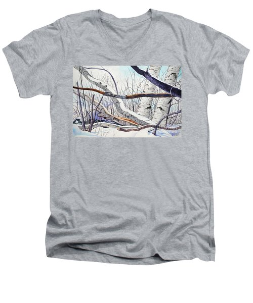 Men's V-Neck T-Shirt featuring the painting Fallen Birch Trees After The Snowstorm In Watercolor by Christopher Shellhammer