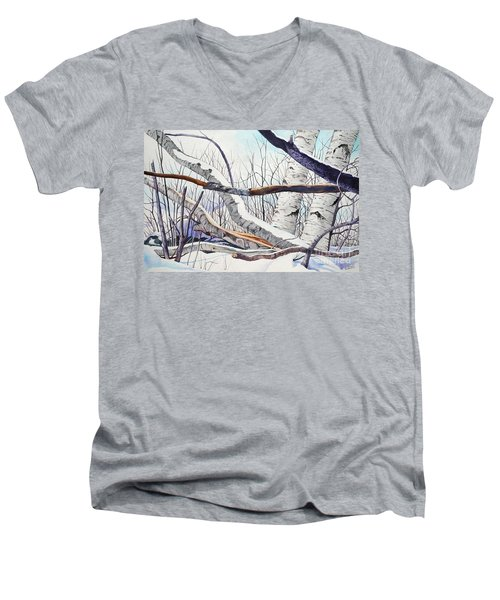 Fallen Birch Trees After The Snowstorm In Watercolor Men's V-Neck T-Shirt