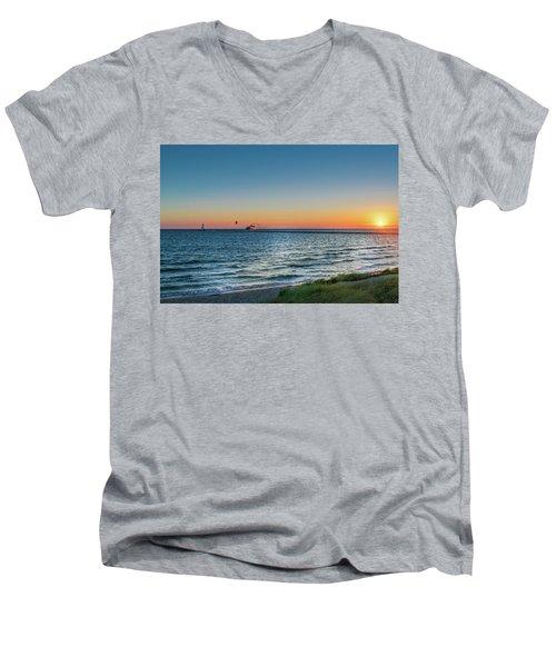 Ferry Going Into Sunset Men's V-Neck T-Shirt