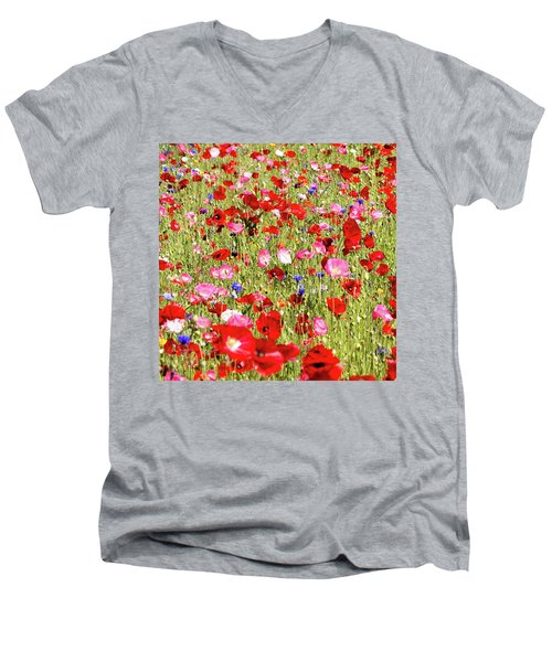 Field Of Red Poppies Men's V-Neck T-Shirt