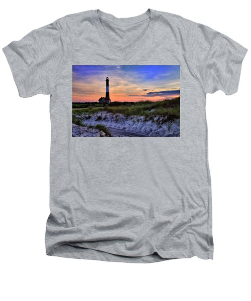 Fire Island Lighthouse Men's V-Neck T-Shirt