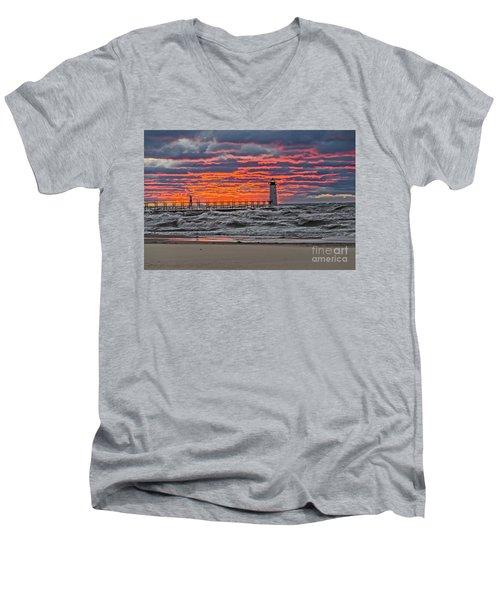 First Day Of Fall Sunset Men's V-Neck T-Shirt