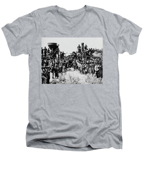 First Opening Of The Transcontinental Railroad - 1869 Men's V-Neck T-Shirt