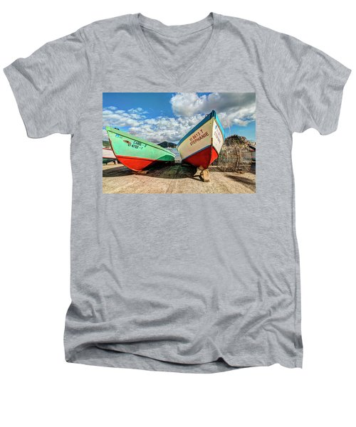 Fishing Boats In Frenchtown Men's V-Neck T-Shirt
