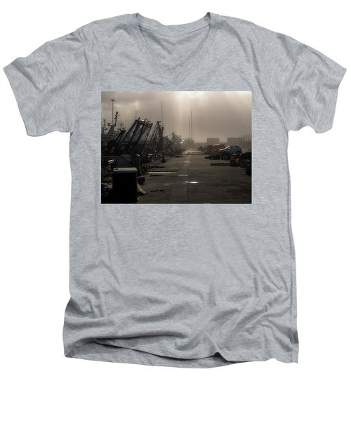 Fishing Boats Moored In The Harbor Men's V-Neck T-Shirt