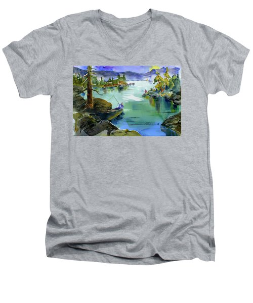 Fishing Lake Tahoe Men's V-Neck T-Shirt