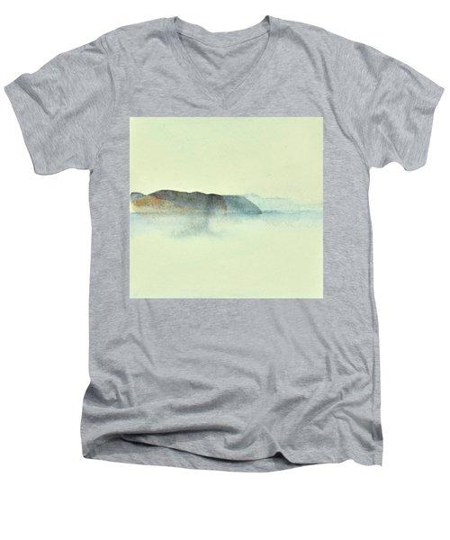 Fiske I Morgondis Hunnebo Vaestkusten   Fishing In Morning Haze Hunnebo Swedish Archipelago 76x73cm  Men's V-Neck T-Shirt