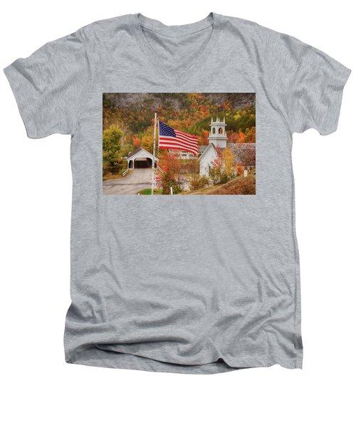 Flag Flying Over The Stark Covered Bridge Men's V-Neck T-Shirt