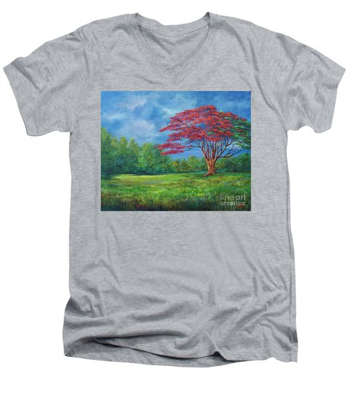 Flame Tree Men's V-Neck T-Shirt