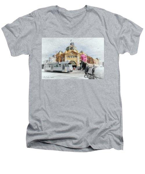 Flinders Street Station, Melbourne Men's V-Neck T-Shirt