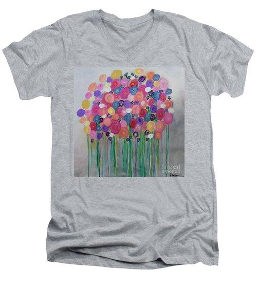 Floral Balloon Bouquet Men's V-Neck T-Shirt