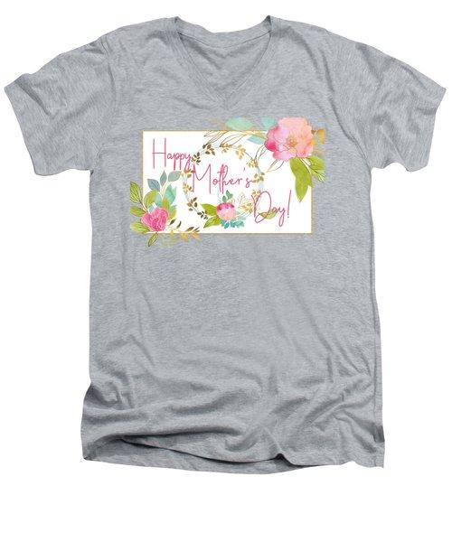 Floral Mother's Day Art Men's V-Neck T-Shirt