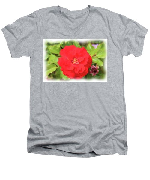 Flower Painting Men's V-Neck T-Shirt