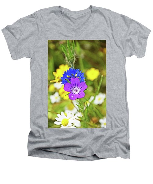 Flowers In The Meadow. Men's V-Neck T-Shirt