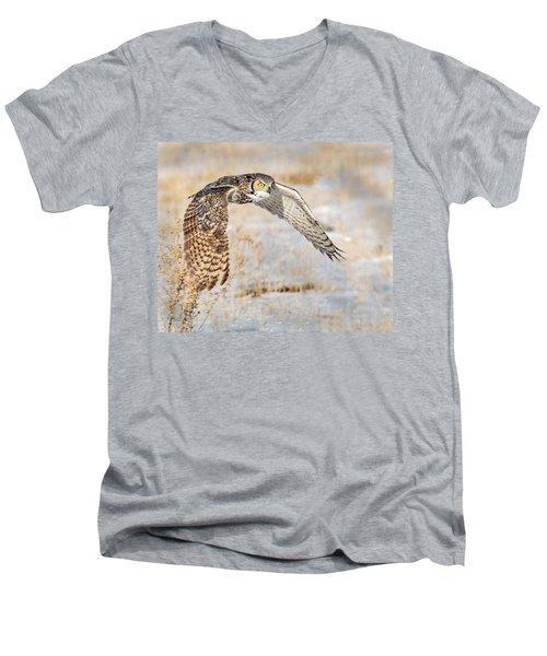 Flying Great Horned Owl Men's V-Neck T-Shirt