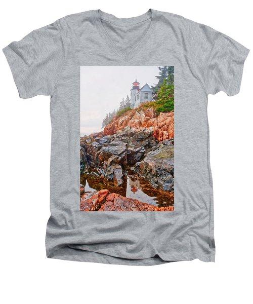 Foggy Bass Harbor Lighthouse Men's V-Neck T-Shirt