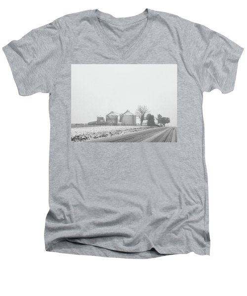 Men's V-Neck T-Shirt featuring the photograph Foggy Farm by Linda Henne