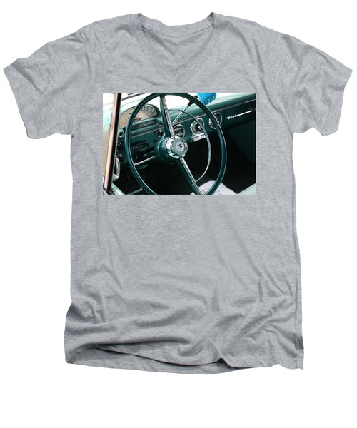 Men's V-Neck T-Shirt featuring the photograph 1955 Ford Fairlane Steering Wheel by Debi Dalio
