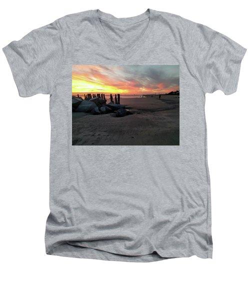 Fort Moultrie Sunset Men's V-Neck T-Shirt