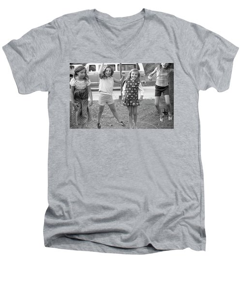 Four Girls, Jumping, 1972 Men's V-Neck T-Shirt