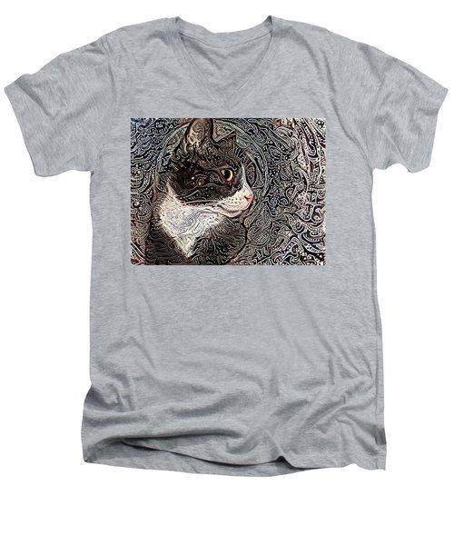Franklyn The Tuxedo Cat Men's V-Neck T-Shirt