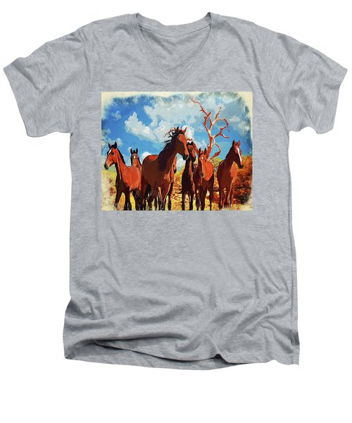 Men's V-Neck T-Shirt featuring the digital art Free Spirits by Mark Allen