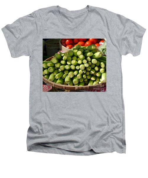 Fresh Baby Corn And Ripe Tomatoes Men's V-Neck T-Shirt