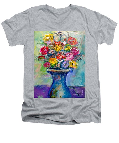 Men's V-Neck T-Shirt featuring the painting Fresh Flowers by Deborah Nell