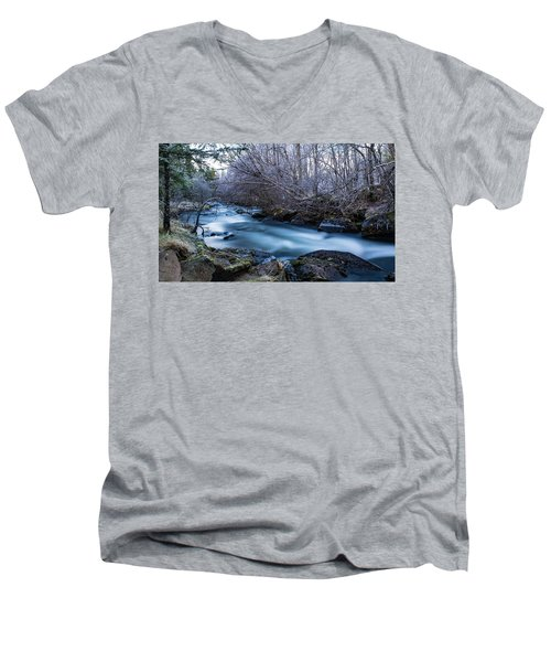 Frozen River Surrounded With Trees Men's V-Neck T-Shirt