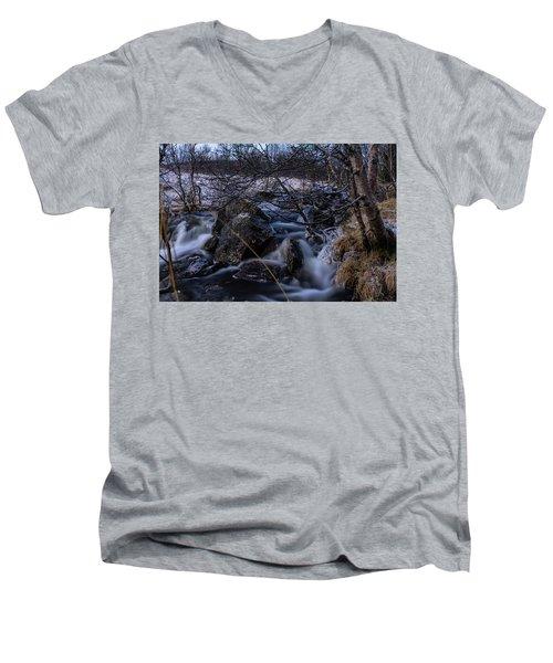 Frozen Stream In Winter Forest Men's V-Neck T-Shirt