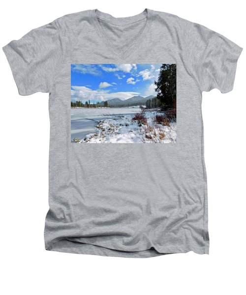Men's V-Neck T-Shirt featuring the photograph Frozen Water by Dan Miller