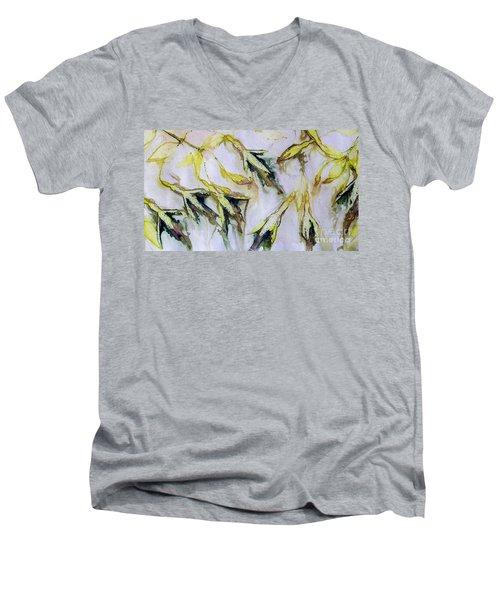Fuchsia Eco Printed Magic Men's V-Neck T-Shirt