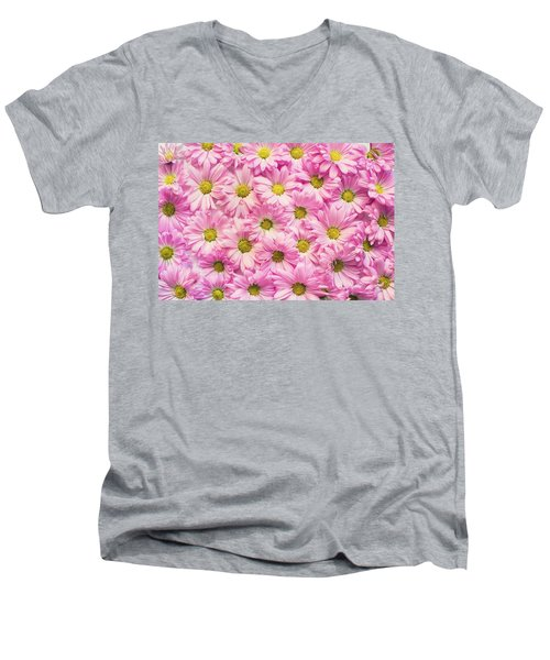 Full Of Pink Flowers Men's V-Neck T-Shirt