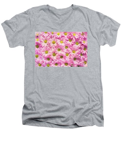 Full Of Pink Flowers Men's V-Neck T-Shirt