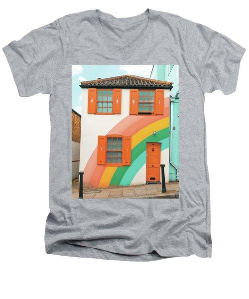 Funky Rainbow House Men's V-Neck T-Shirt