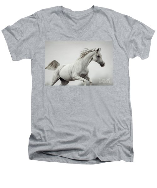 Men's V-Neck T-Shirt featuring the photograph Galloping White Horse by Dimitar Hristov