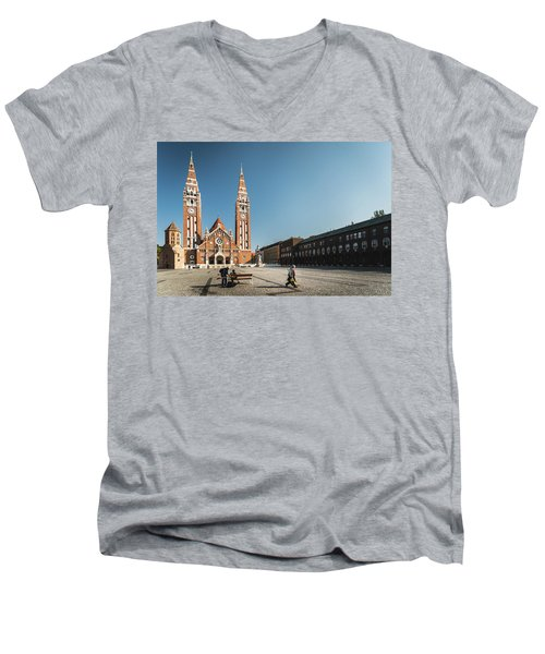 Garbage Cleaners On Dom Square In Szeged  Men's V-Neck T-Shirt