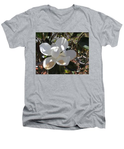 Gigantic White Magnolia Blossoms Blowing In The Wind Men's V-Neck T-Shirt